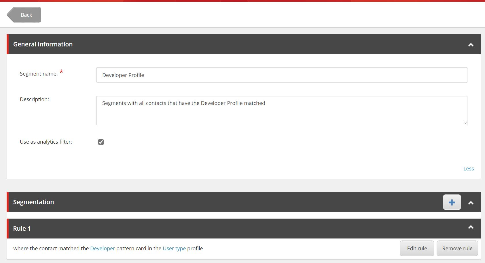 Screenshot of Sitecore XP
